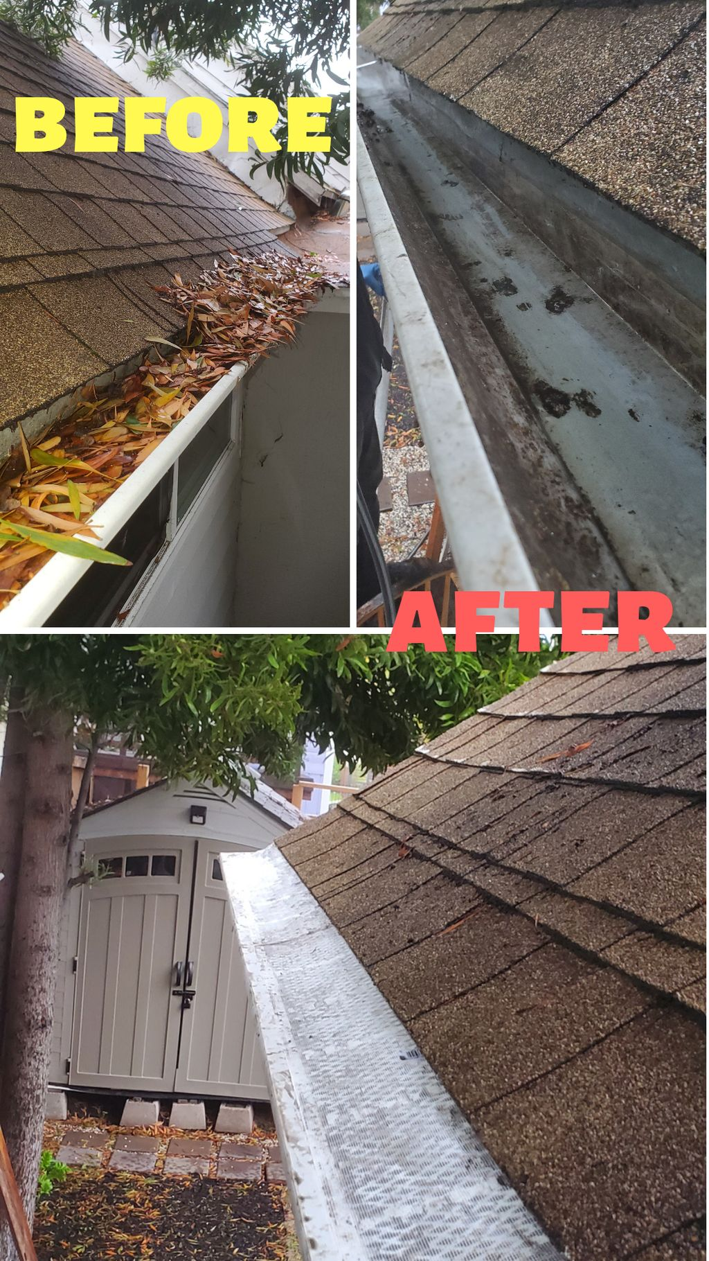 Gutter cleaning and gutter guards install