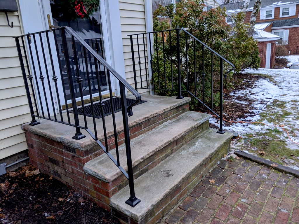 Front porch and sidewalk entrance railings