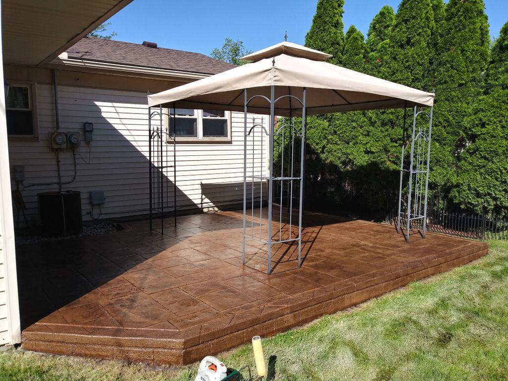 Sealer stripping done on stamped patio