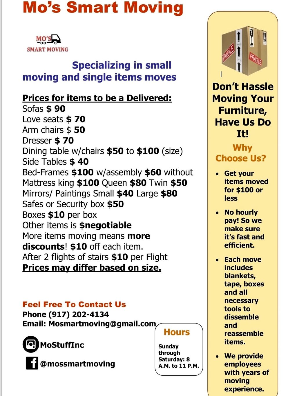 Mo's Smart Moving Furniture Pricing