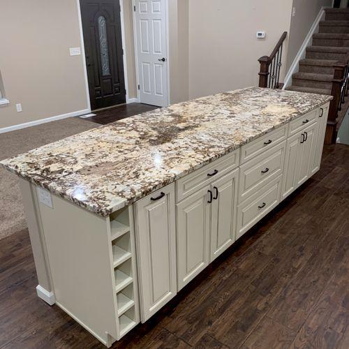 "10' x 42"" island in new kitchen"