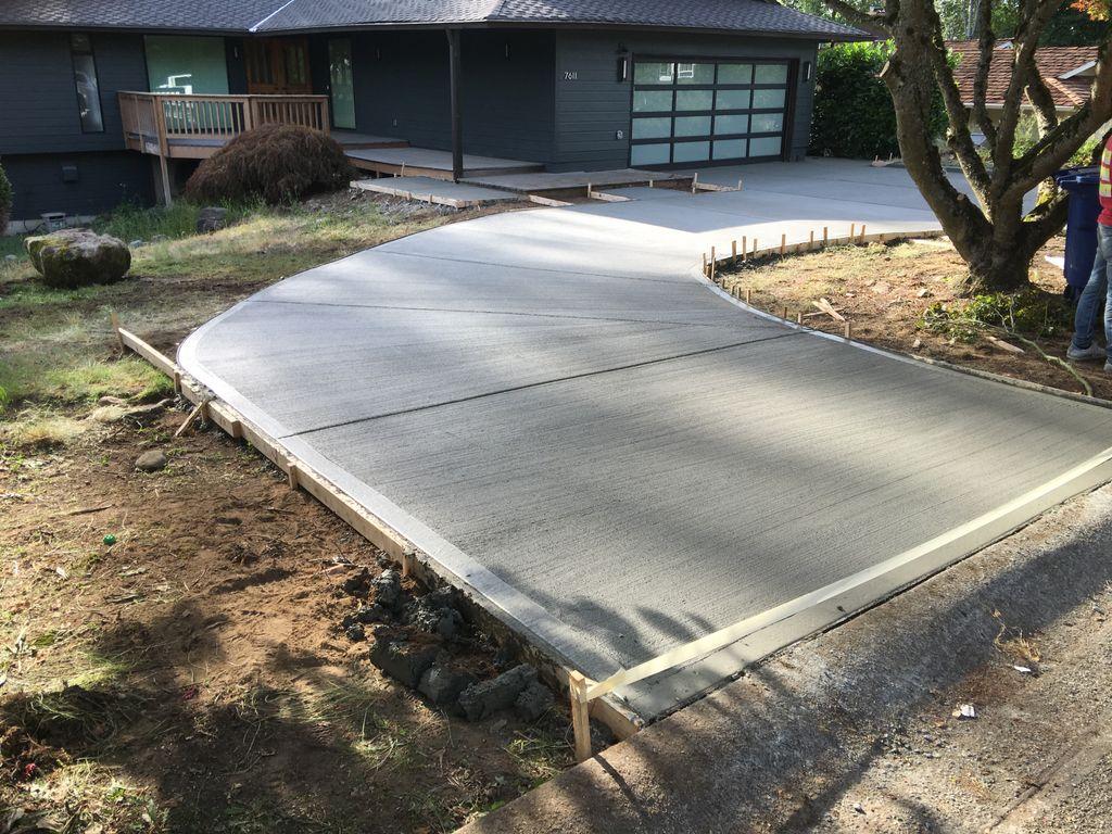 Brushed concrete driveways