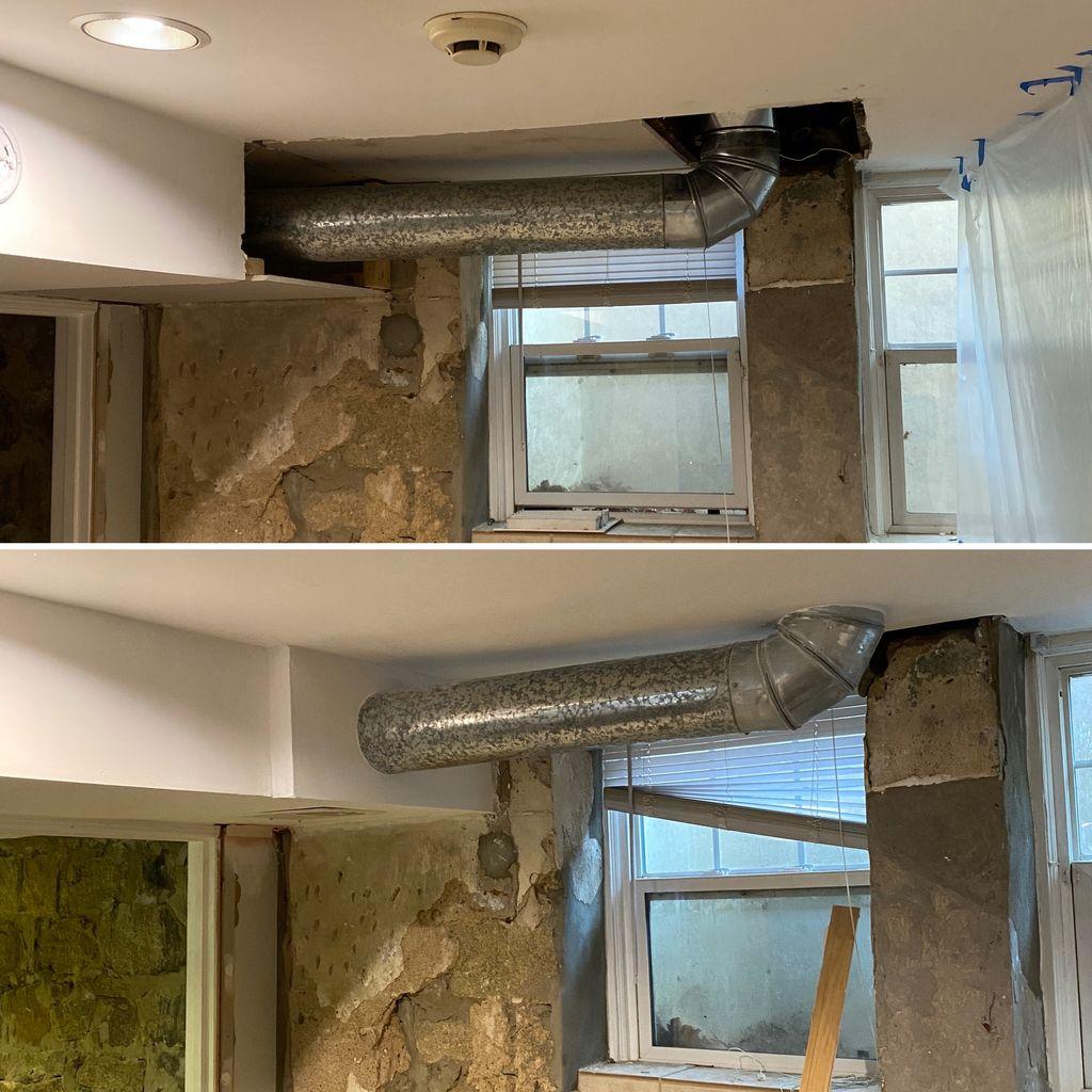 Custom duct drywall install