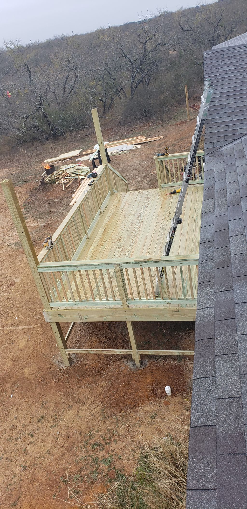12x21 pressure treated deck with  stairs and all the handrail