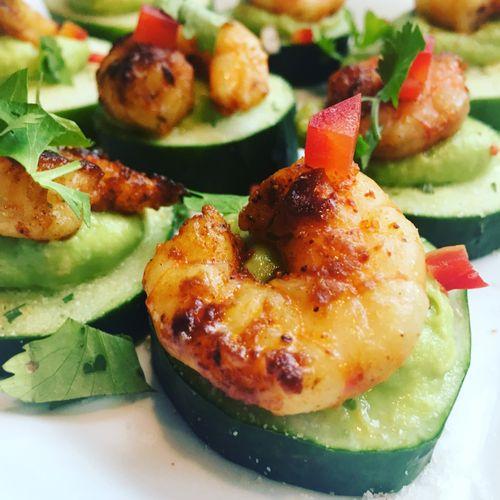Great Appetizer Menu Options: Grilled Shrimp and Cucumber Bites)