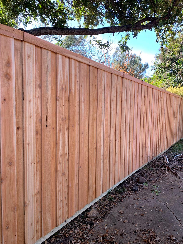 Custom Cedar Fence with Automatic Swing Gate