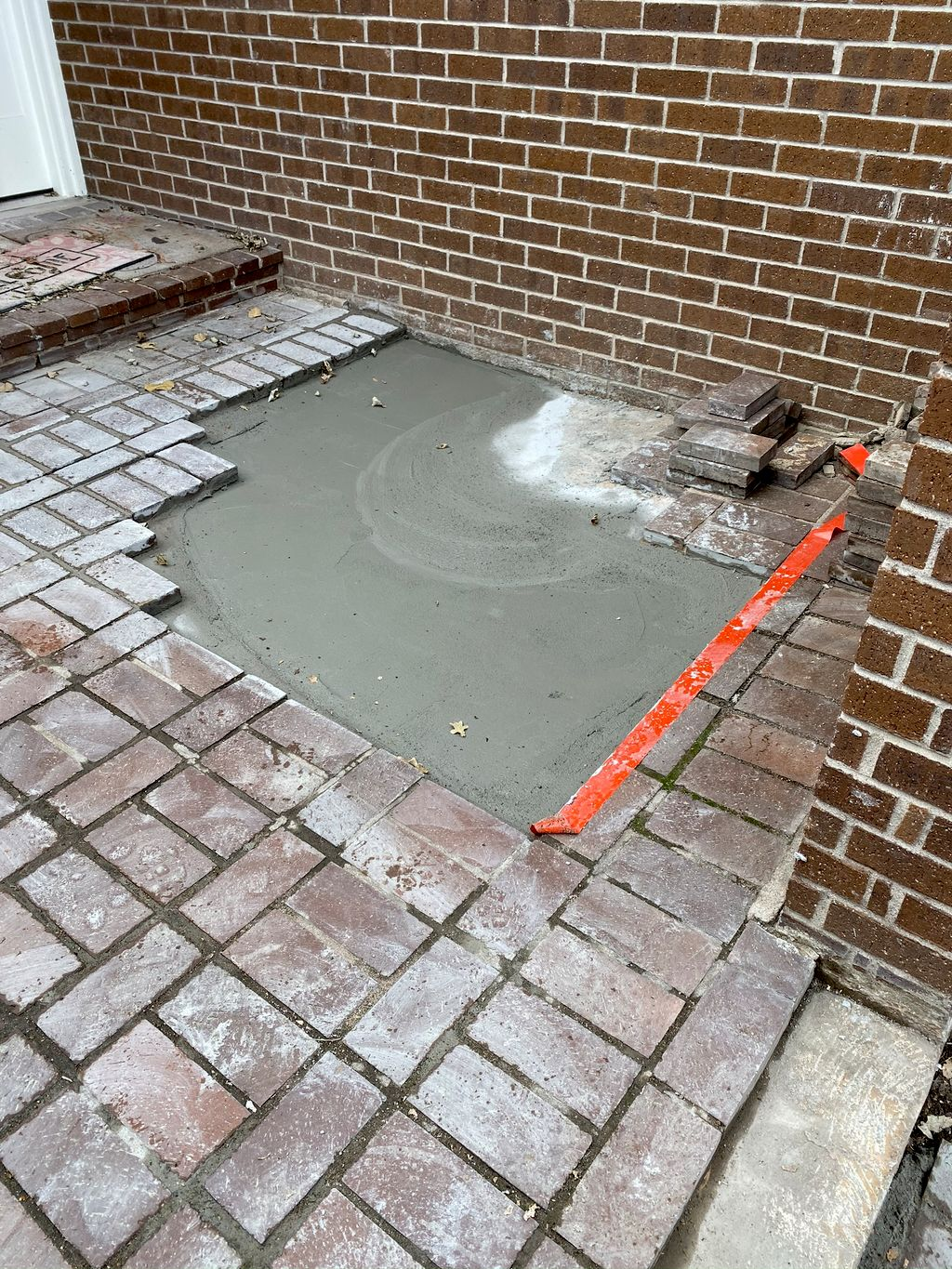 Landscaping- Concrete patio with fire pit