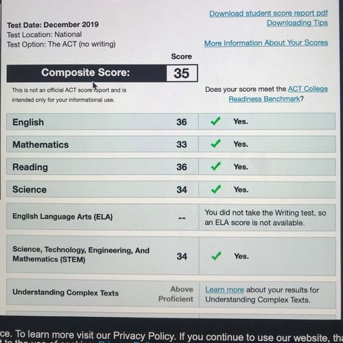 Student result from December 2019 ACT.  Student previously scored 30 and had eight 90-minute online sessions with me to prepare.