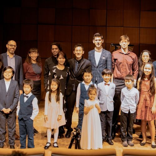 Me with 30 of my students after a student recital at the world-famous Steinway Hall in Midtown Manhattan
