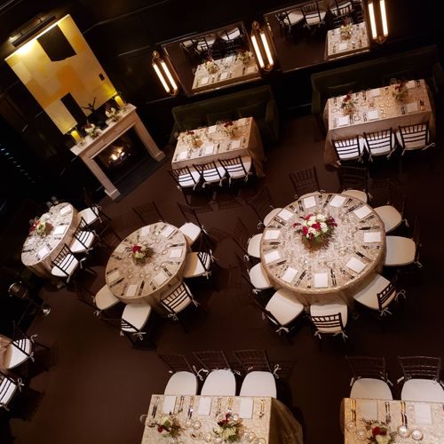 Aerial view of a dining room that could seat 48 guests, but with the proper spacing, I was able to accommodate a seated dinner for 72 guests