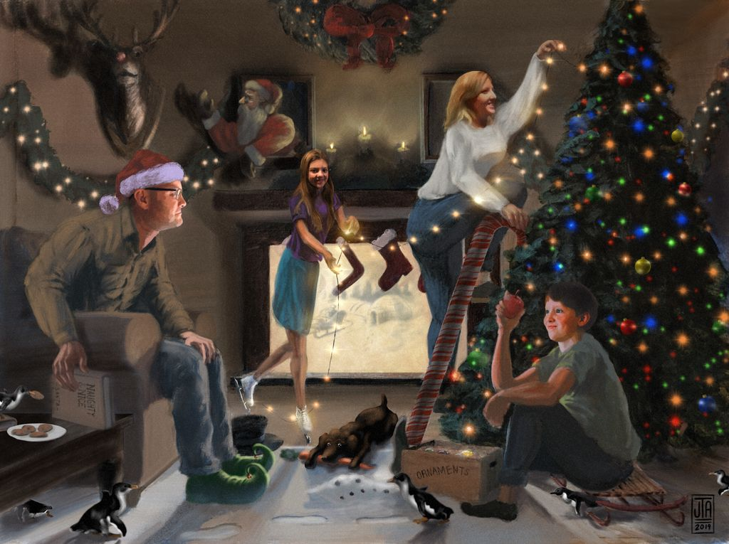 Norman Rockwell Style Holiday Card