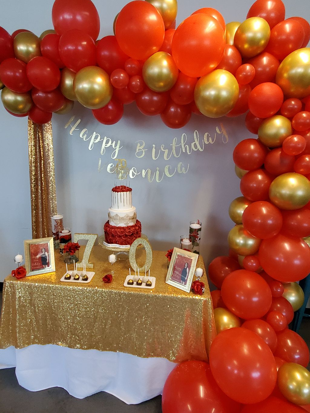 70th Birthday-Red & Gold Theme-Design Services