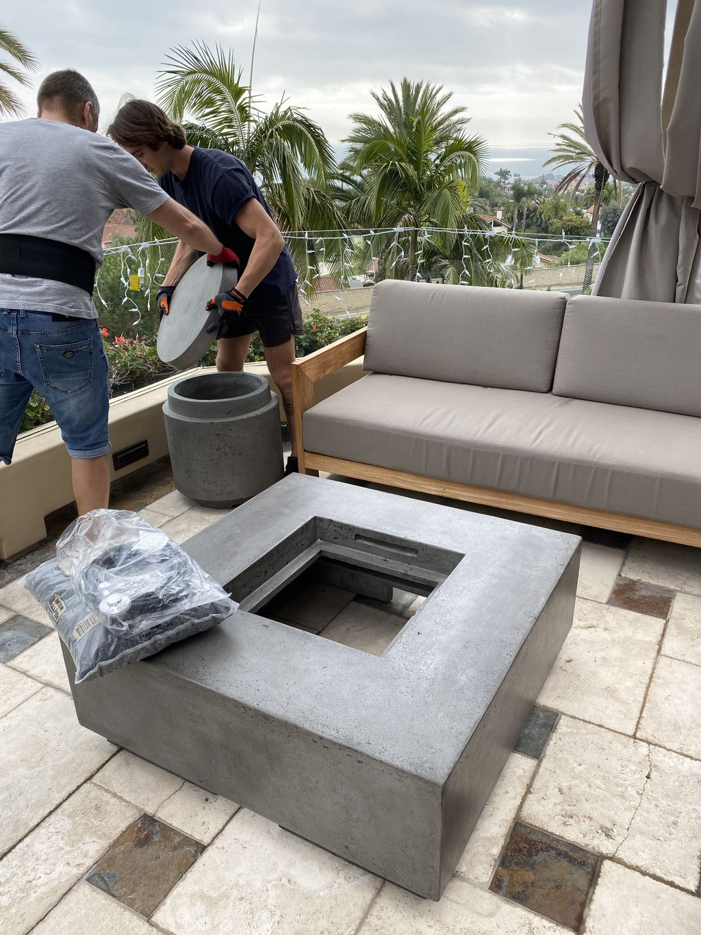 400lbs Fire Pit Table installed