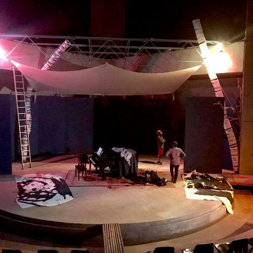Setting up the stage at Arcosanti.