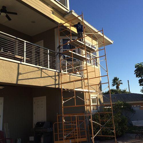 Repairing water damaged beam 30' high