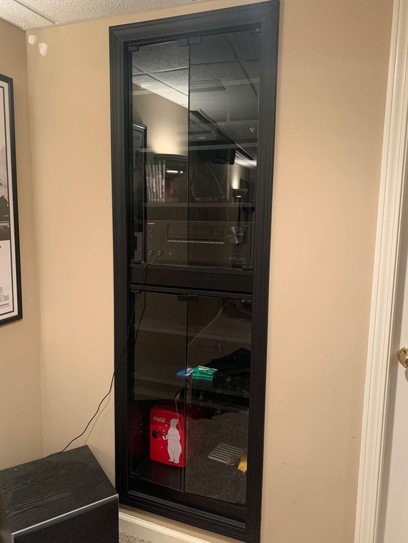Shelving Units and smoked glass installation