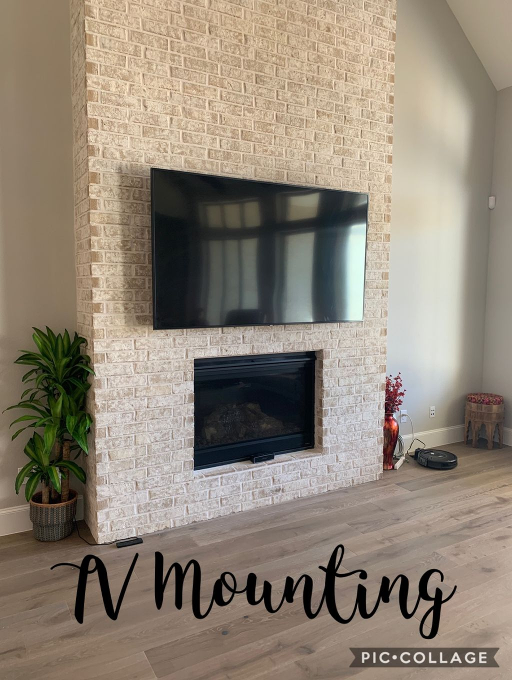 80 inch TV Mount on Rock Fireplace