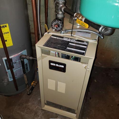 after shot new gas boiler installed