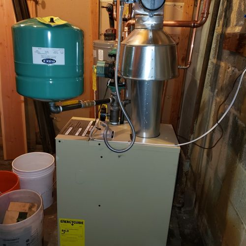 new boiler after installation side view