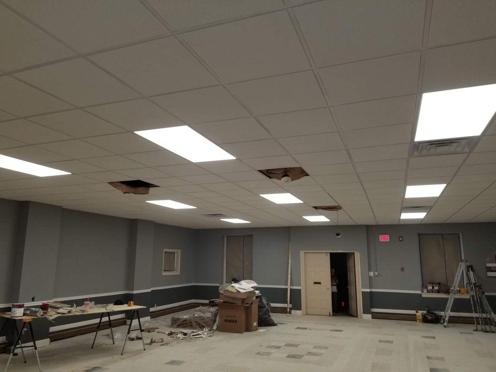 Ceramic tile floor, paint and drop ceiling