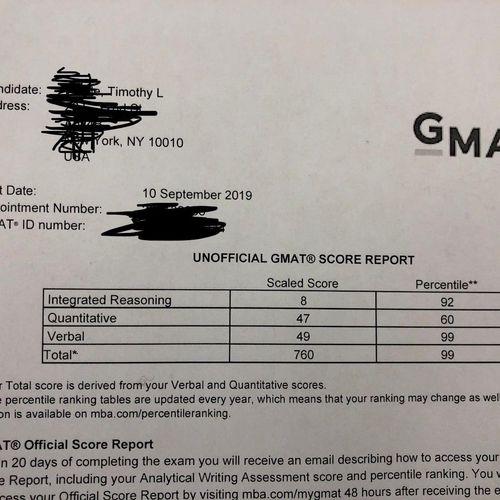 Recent GMAT student's score!