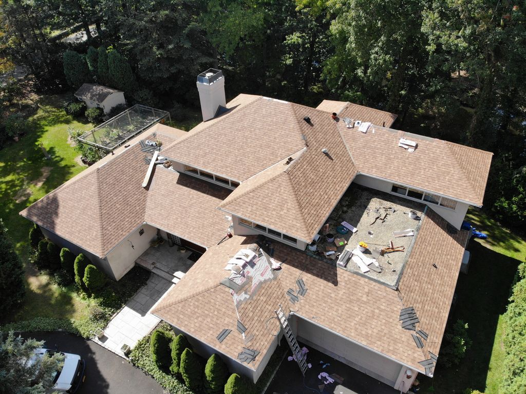 Large Residential Roof Replacement with Gutters