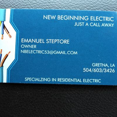 Avatar for New Beginnings Residential Electrical company Gretna, LA Thumbtack