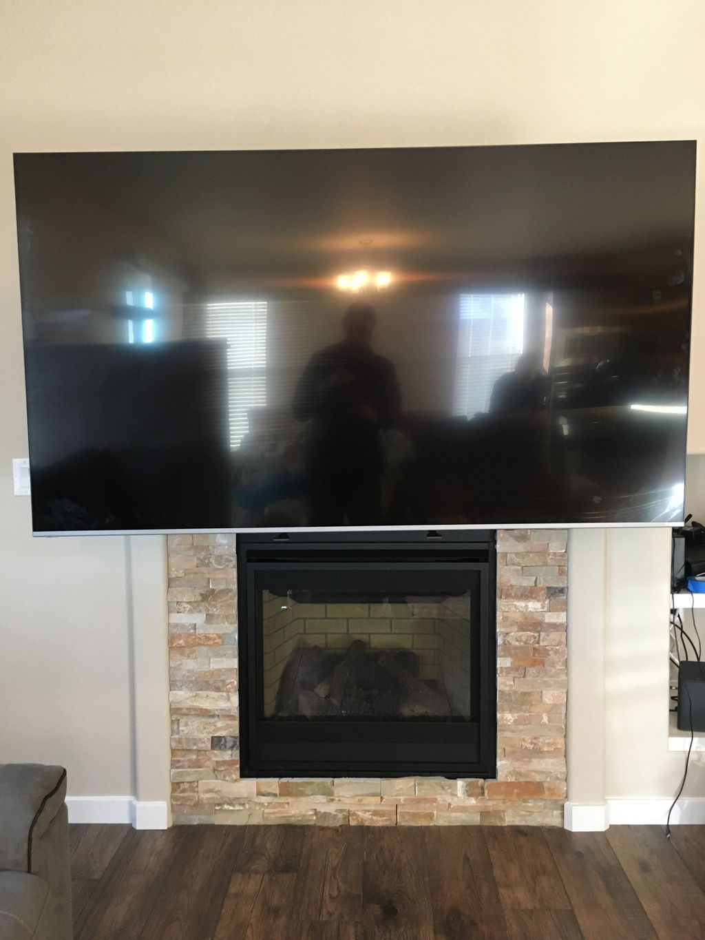 75 inch TV installation with a