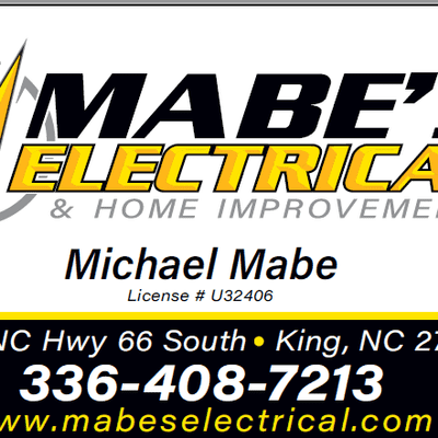 Avatar for Mabe's Electrical King, NC Thumbtack