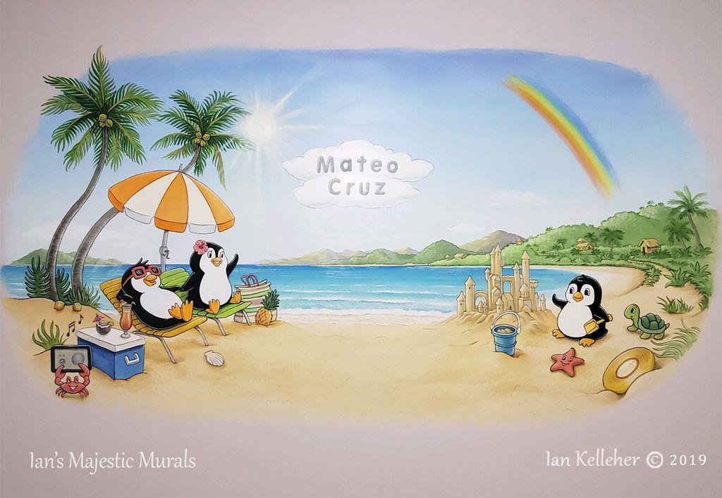 Penguin Nursery Mural