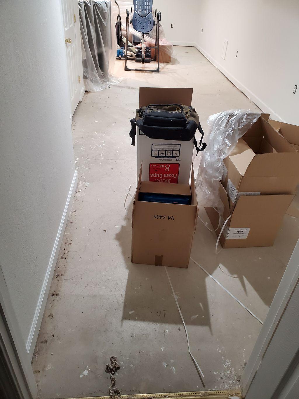 Trenton basement LVT installation