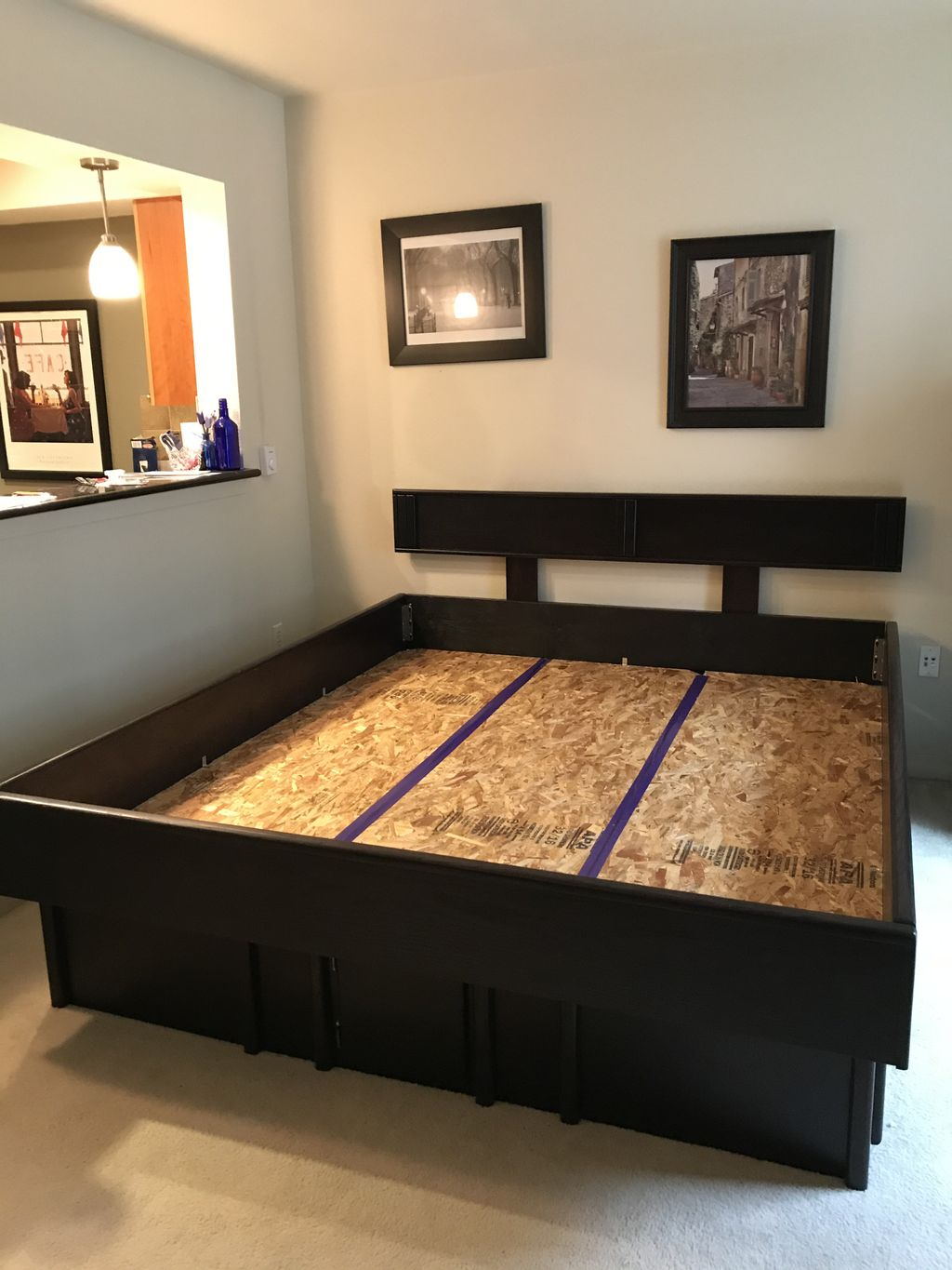 Assembled water bed frame