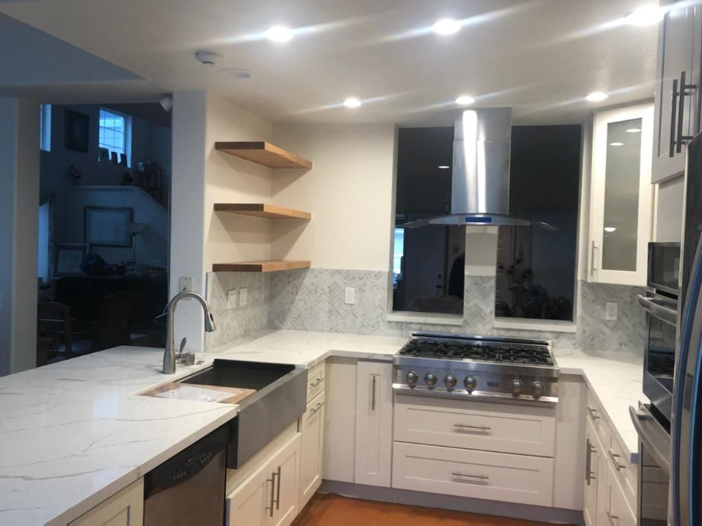 Full kitchen remodeling open windows wall