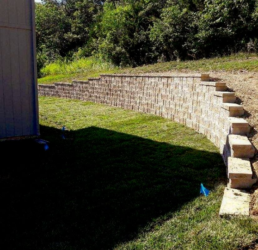Retaining wall with Sod installation and drainage