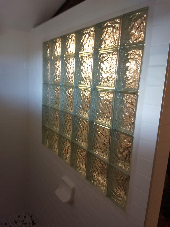 Block glass window for walk in shower