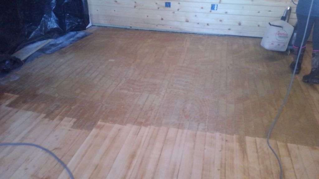 Sanded floor and installed new wall