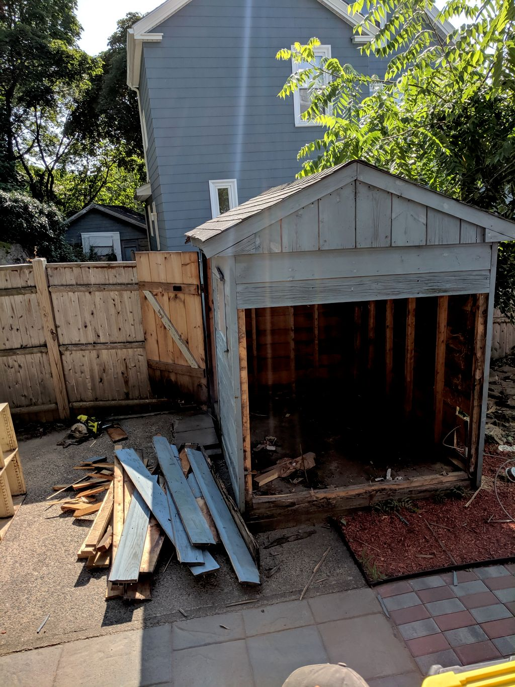 Backyard shed, demo and assemble