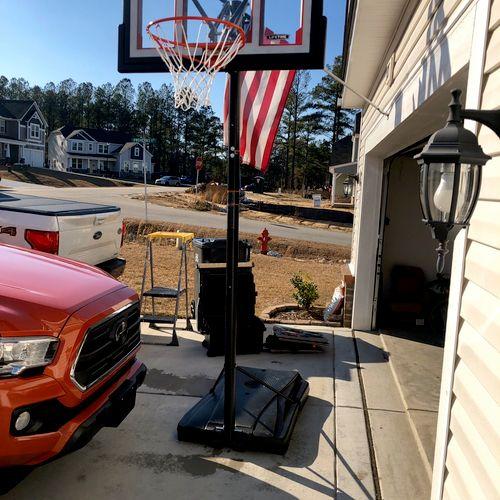 Assembled basketball hoop.