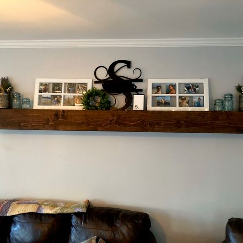 Floating shelf. Built offsite using customer specifications. Then installed.