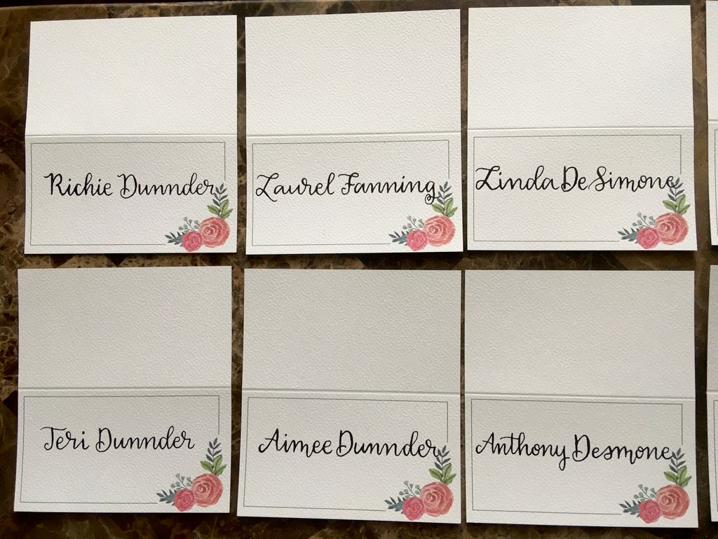 Calligraphy on place cards