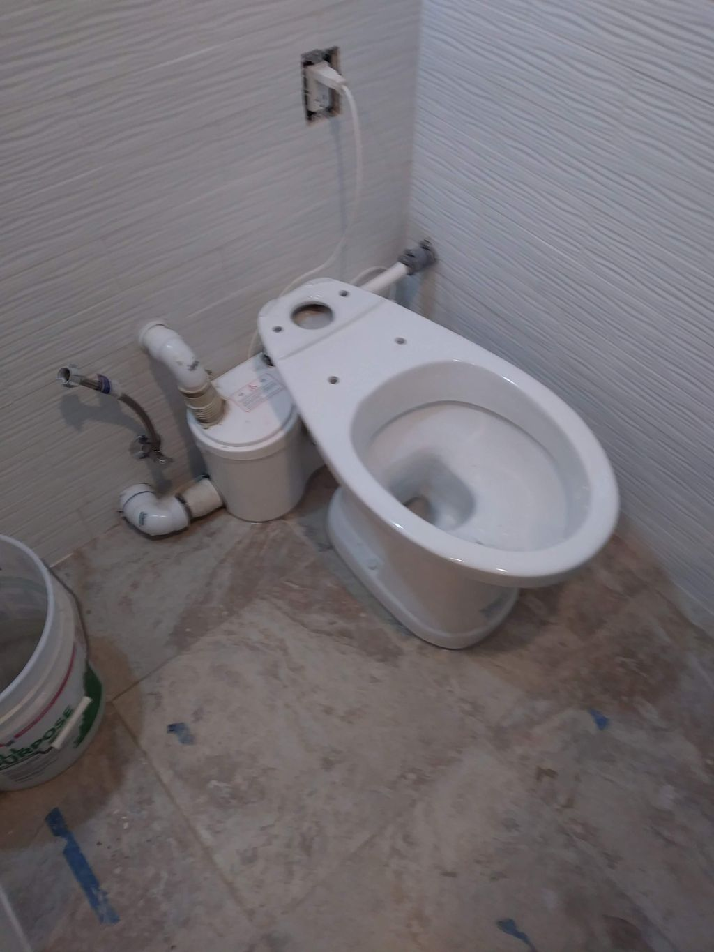 Drain-less with pump toilet installation