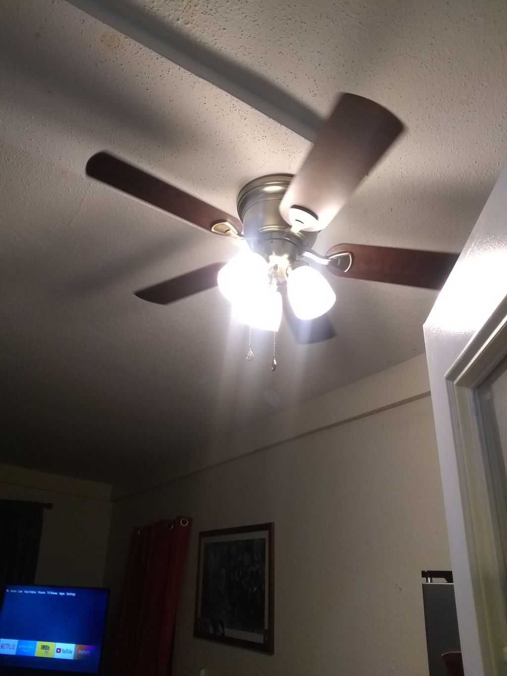 Ceiling fan and light installation