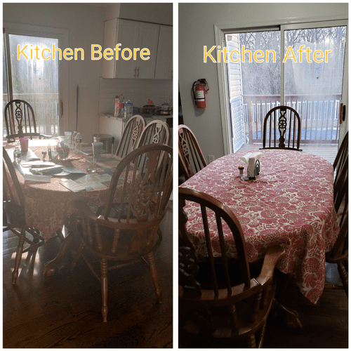 Pics of before and after house cleaning by maid service company Get Maid Savvy kitchen table