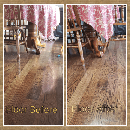 Pics of before and after house cleaning by maid service company Get Maid Savvy kitchen floor