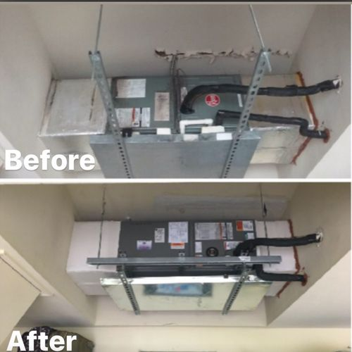 Before and After air handler installation pictures