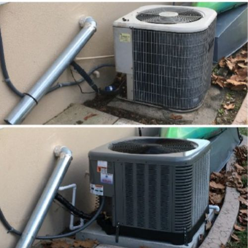 Before and after condenser installation pictures