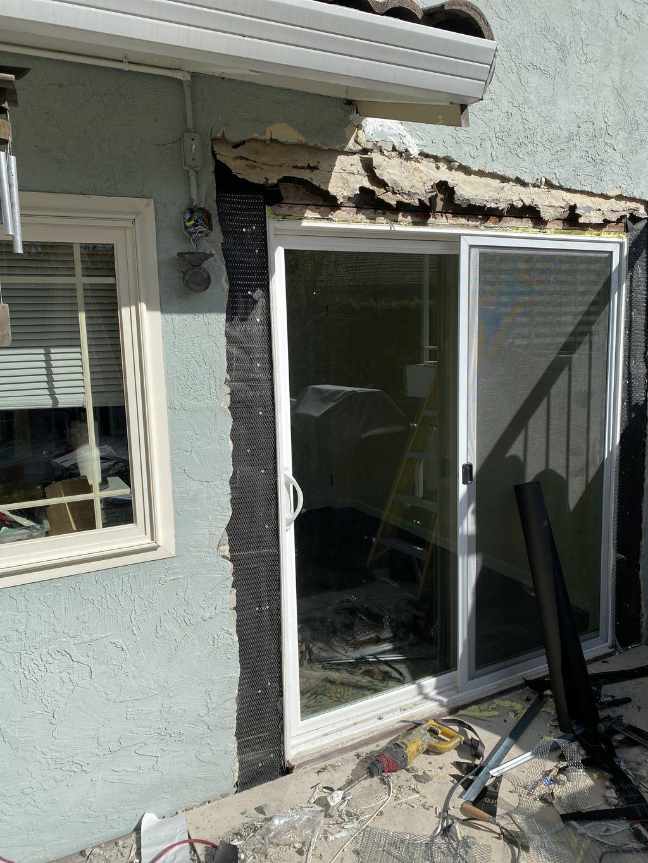 Stucco repair leaking door
