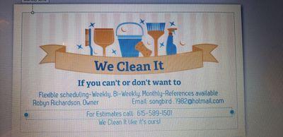 Avatar for We Clean It Columbia, TN Thumbtack
