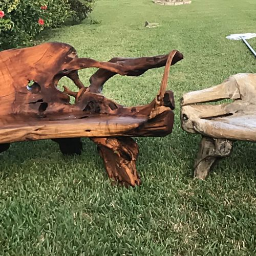 Look how beautiful is the outside wood furniture after we stain it,bring the natural color giving that wet looking.