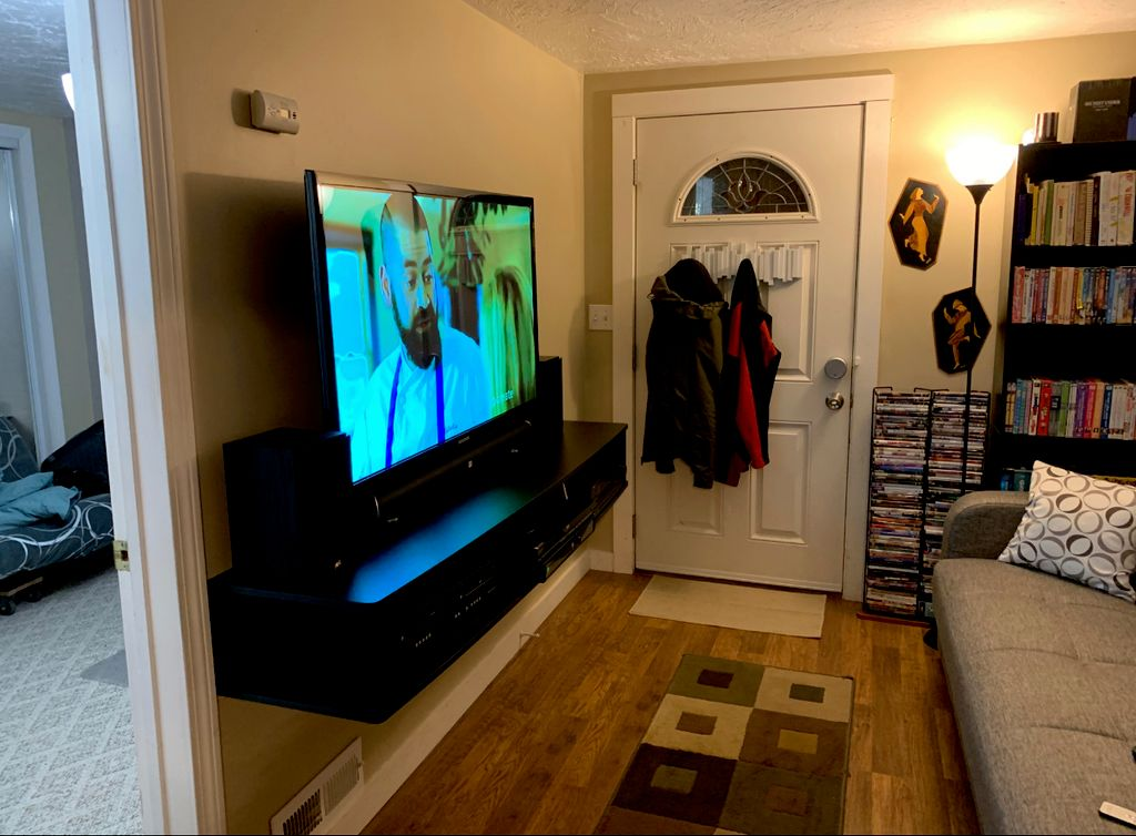 Wall mount TV and Floating Entertainment Center, Conceal Wires